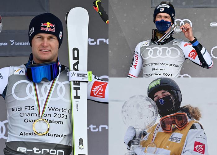 Athlètes, ski, Clément Noël, Alexis Pinturault et Perrine Laffont