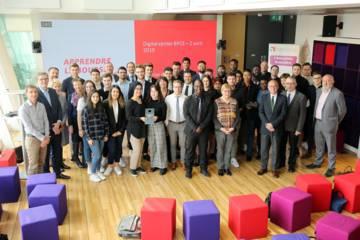 Une quarantaine d'étudiants lauréats de l'édition 2018 du concours Apprendre la Bourse ont reçu leur prix à BPCE