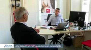 Philippe Gobinet, PDG du groupe d'intérim Partnaire à Orléans et son conseiller bancaire, Cédric Tourne, chargé d'affaires à la Caisse d'Epargne Loire Centre.