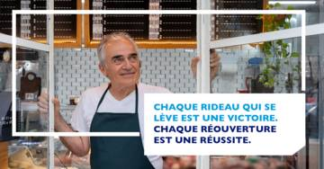 "Campaign Banque Populaire ""Whenever a shop brings down its shutters, it's a victory; whenever a business reopens, it's a success!"""