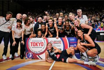 l'Équipe de France féminine de Basket-ball à Bourges lors du Tournoi de Qualification Olympique (TQO)