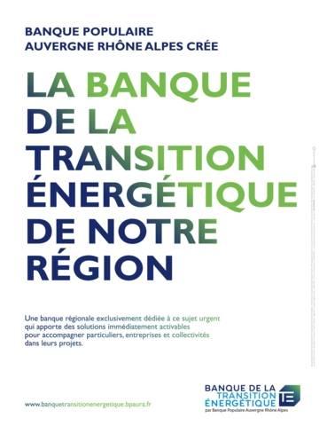 Affiche de la création de la Banque de la Transition énergétique